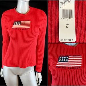 Vintage Polo Jeans Company Flag Red Knit Sweater